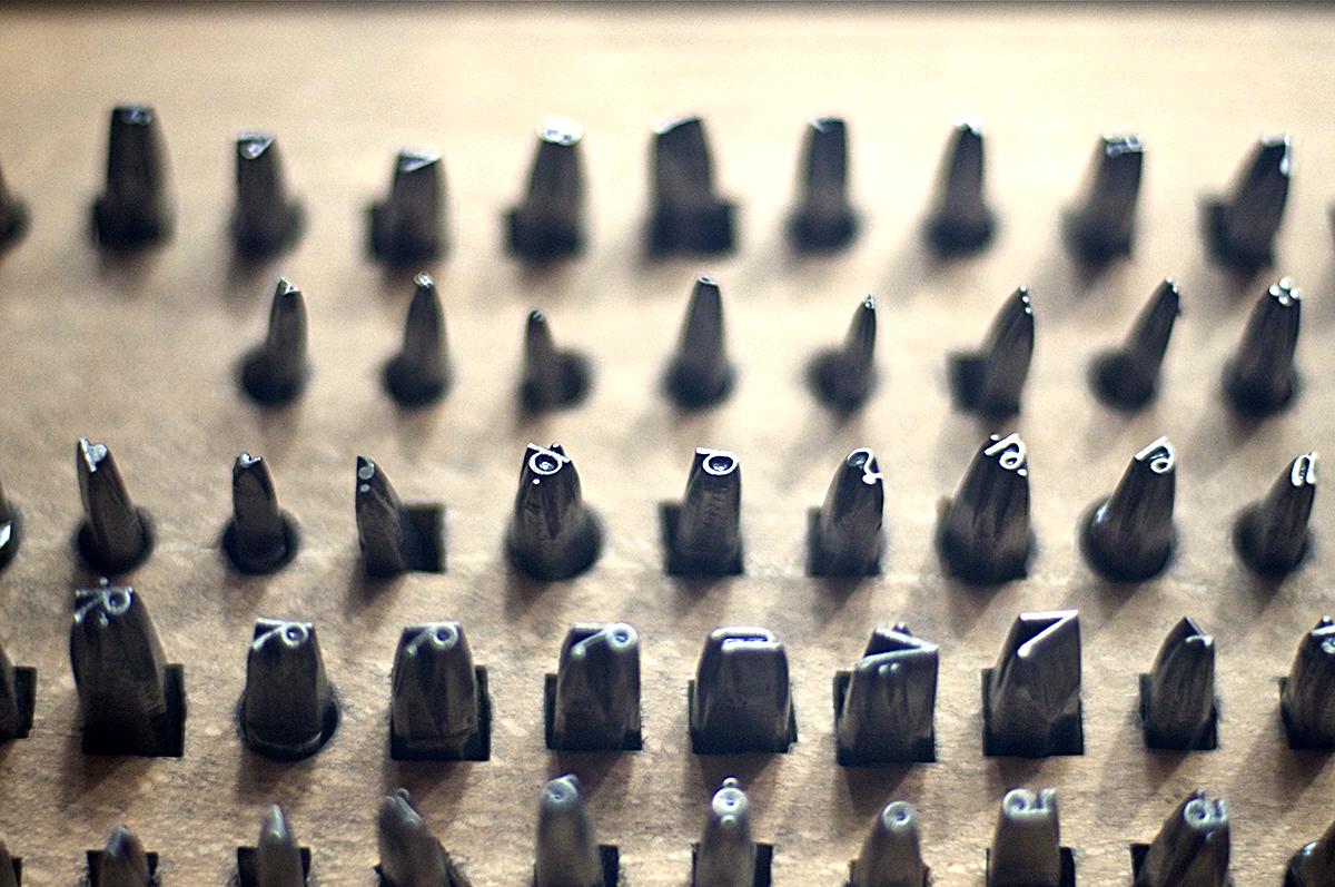 最初に作られたGaramond書体の打ち込み母型。 ©Petri Aukia