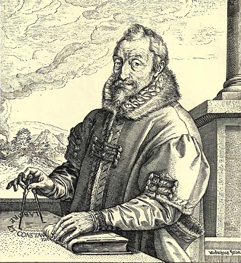 創業者のクリストフ・プランタン(Christophe Plantin)の肖像画、印刷所の象徴: 金のコンパスを持ち、ラテン語で「Labore et Cansantia(勤勉と強靭な意志)」を書いている。