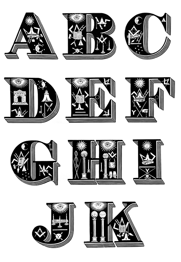 フリーメイソンマークをテーマとした木製活字フォント。 | 世界で最も美しい木製活字フォント