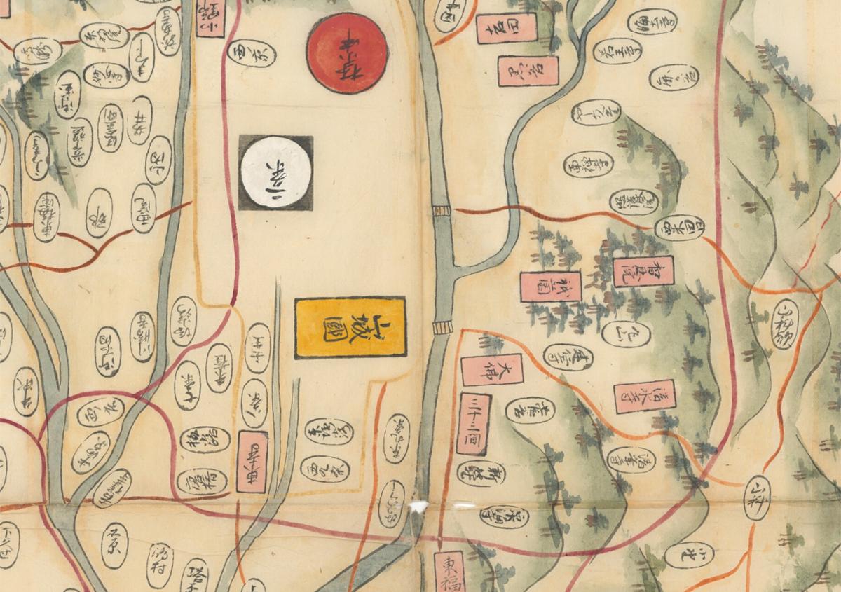 (写真3)『山城国[畿内図]』(京都大学附属図書館所蔵)部分拡大 | 図書館資料のデジタル化 - 京都大学図書館資料保存ワークショップ | 活版印刷研究所