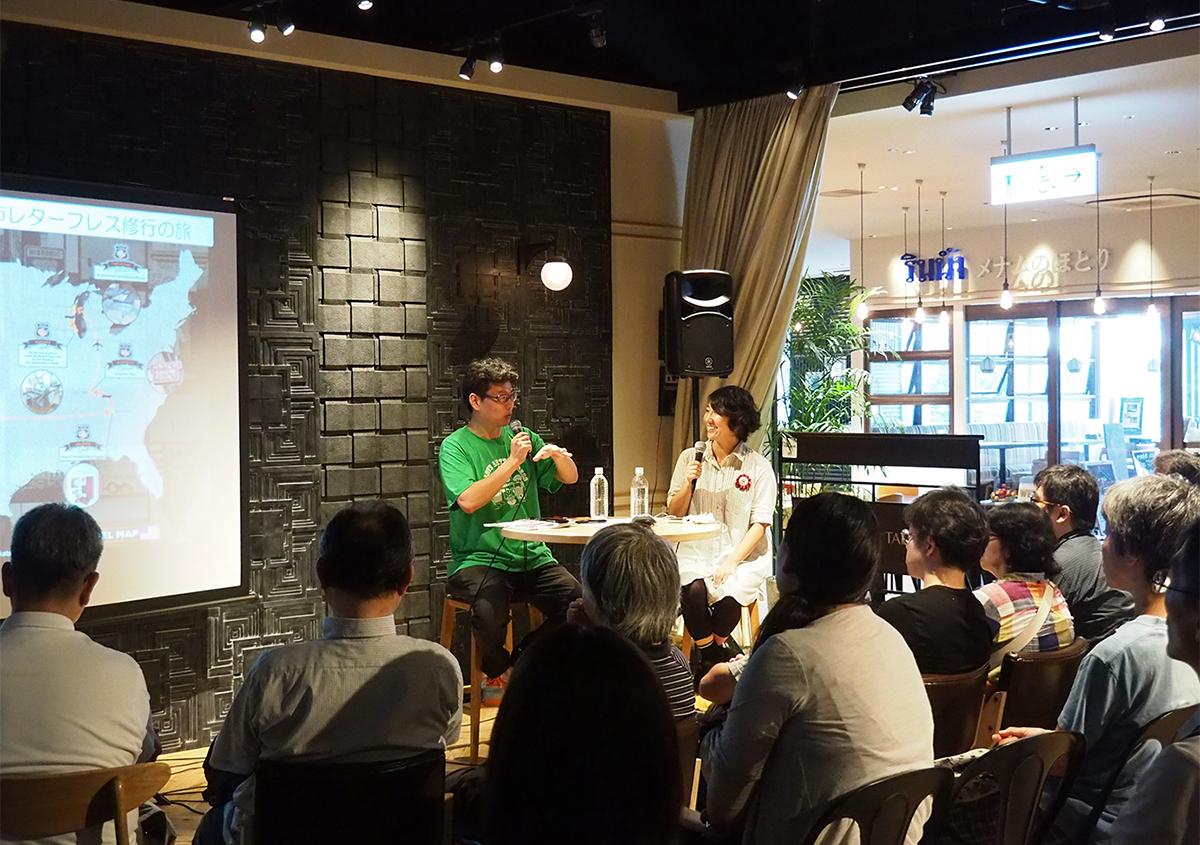 (写真27)左は、なにわ活版印刷所 大西祐一郎さん。右は、聞き手の東條メリーさん。 | 「 活版TOKYO2018 」に行ってきました〈前編〉 - 生田信一(ファー・インク) | 活版印刷研究所