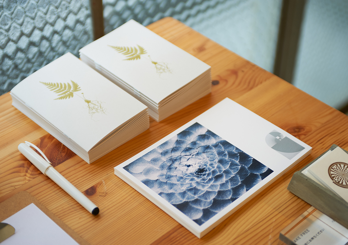 (写真10)植物標本の概要がまとめられた冊子とギャラリー展示を告知するカード。カードには植物が生み出すパターンが鮮やかに印刷されています。:撮影スズキアサコ | 個展「 植物標本と活版印刷 」を訪ねる - 生田信一(ファーインク) | 活版印刷研究所