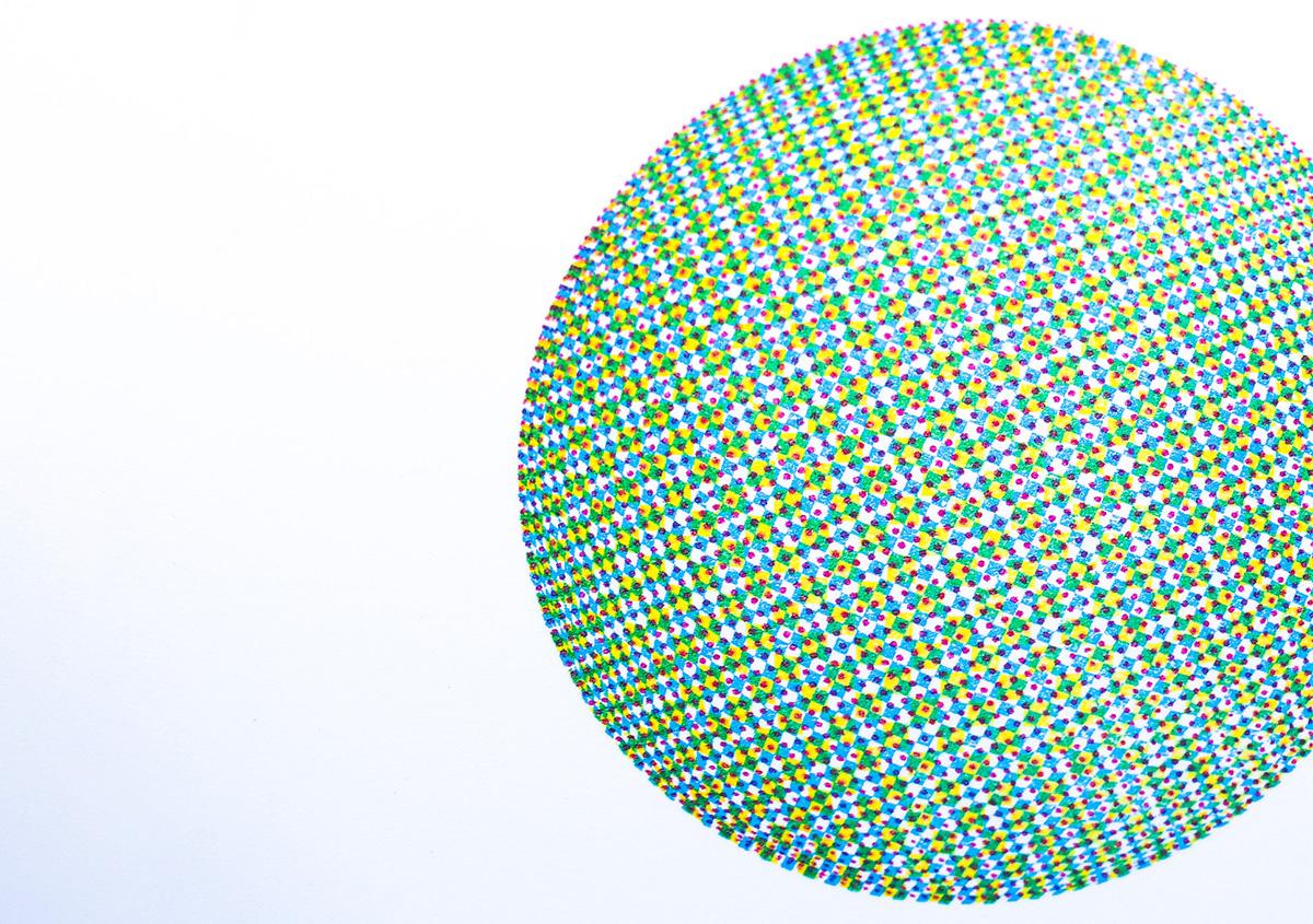(写真16)小さなドットで構成された面を重ね刷りし、視覚的な混色を表現した作品。 | 活版印刷の技術で、複製できない価値を生み出す - 生田信一(ファーインク) | 活版印刷研究所