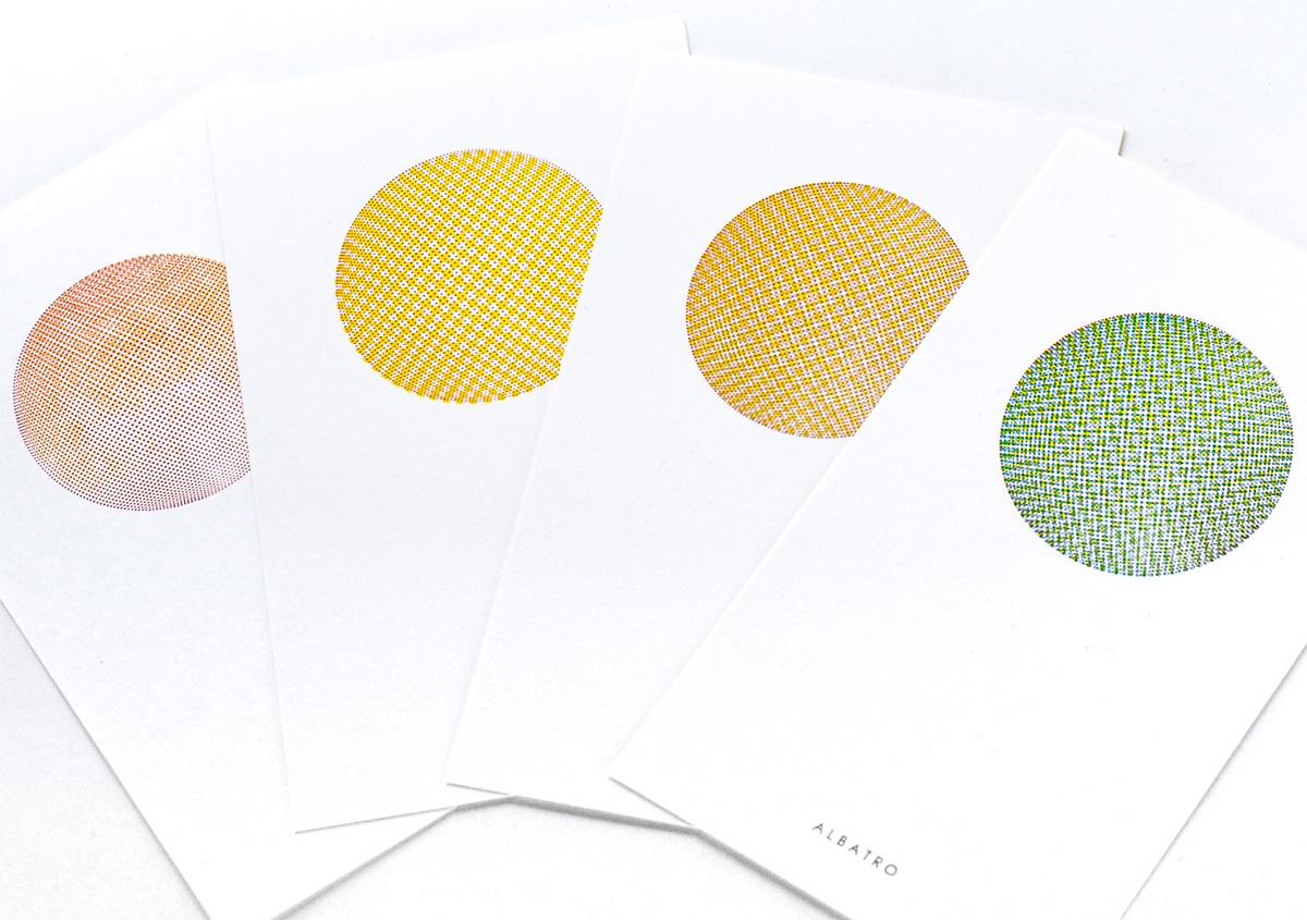 (写真19)小さなドットで構成された面を重ね刷りし、視覚的な混色を表現した作品。 | 活版印刷の技術で、複製できない価値を生み出す - 生田信一(ファーインク) | 活版印刷研究所