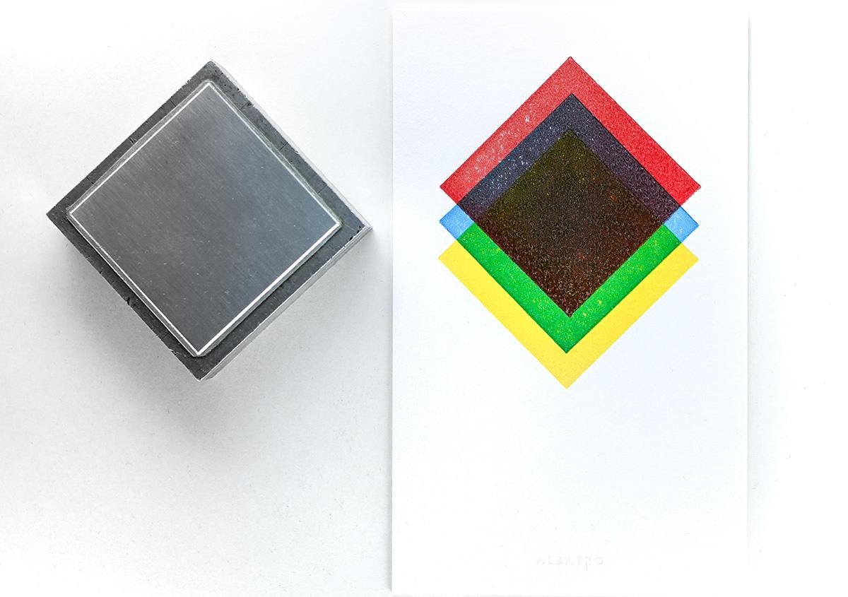 (写真9)赤、青、黄色の原色インキによる重ね刷り。重なった部分には中間色が表れる。 | 活版印刷の技術で、複製できない価値を生み出す - 生田信一(ファーインク) | 活版印刷研究所