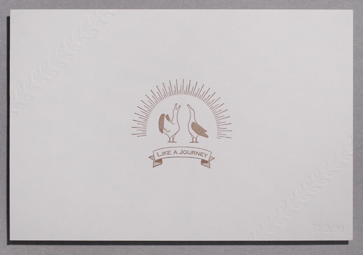 (写真14)結婚式招待状のデザイン。活版印刷 両面1色 / 空押し、ディープマット ホワイト 360kg。 | 宮田印刷が手がける「 LETTERPRESS BOOK COVER 」 - 生田信一(ファーインク) | 活版印刷研究所