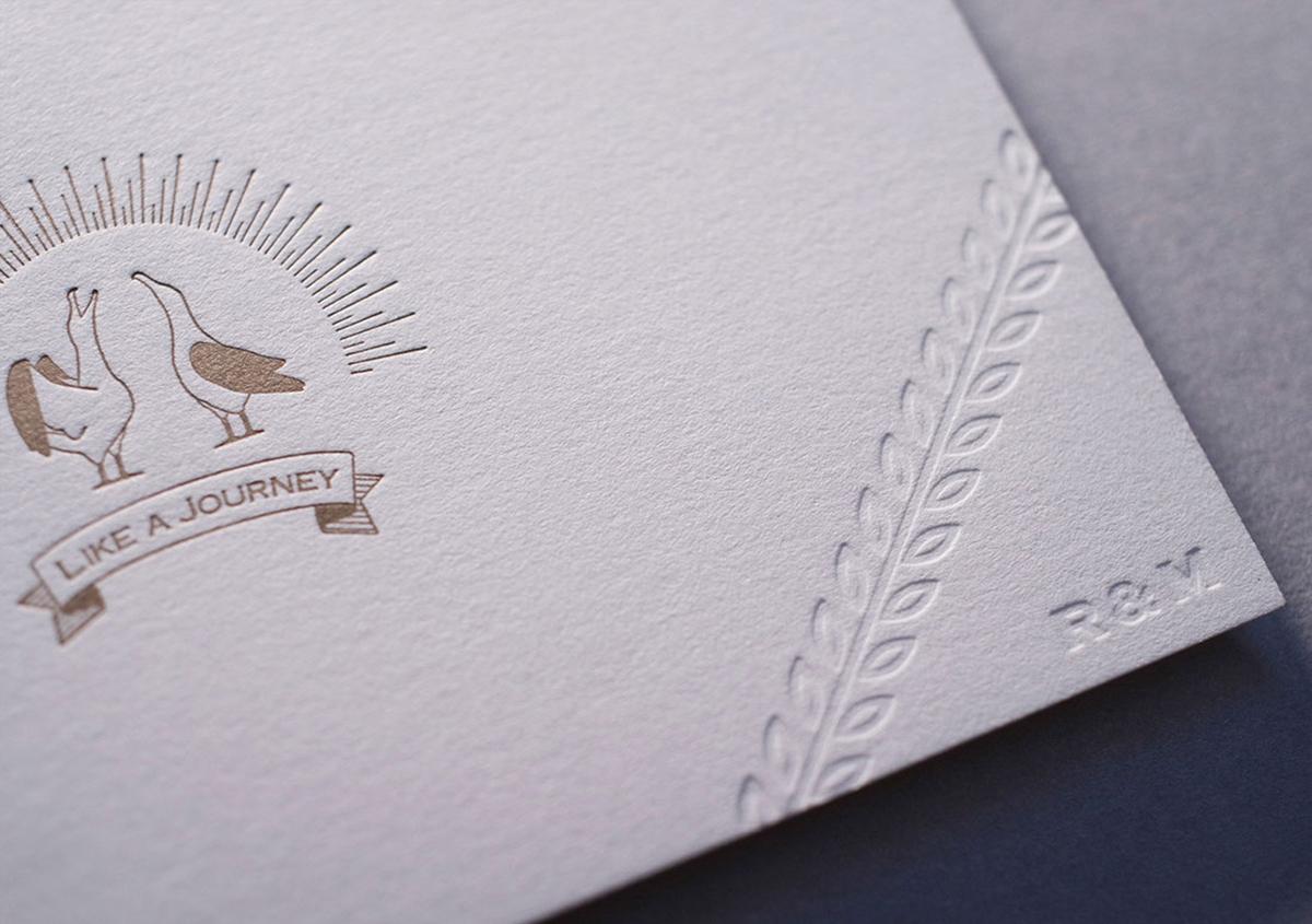 (写真15)結婚式招待状のデザイン。活版印刷 両面1色 / 空押し、ディープマット ホワイト 360kg。 | 宮田印刷が手がける「 LETTERPRESS BOOK COVER 」 - 生田信一(ファーインク) | 活版印刷研究所
