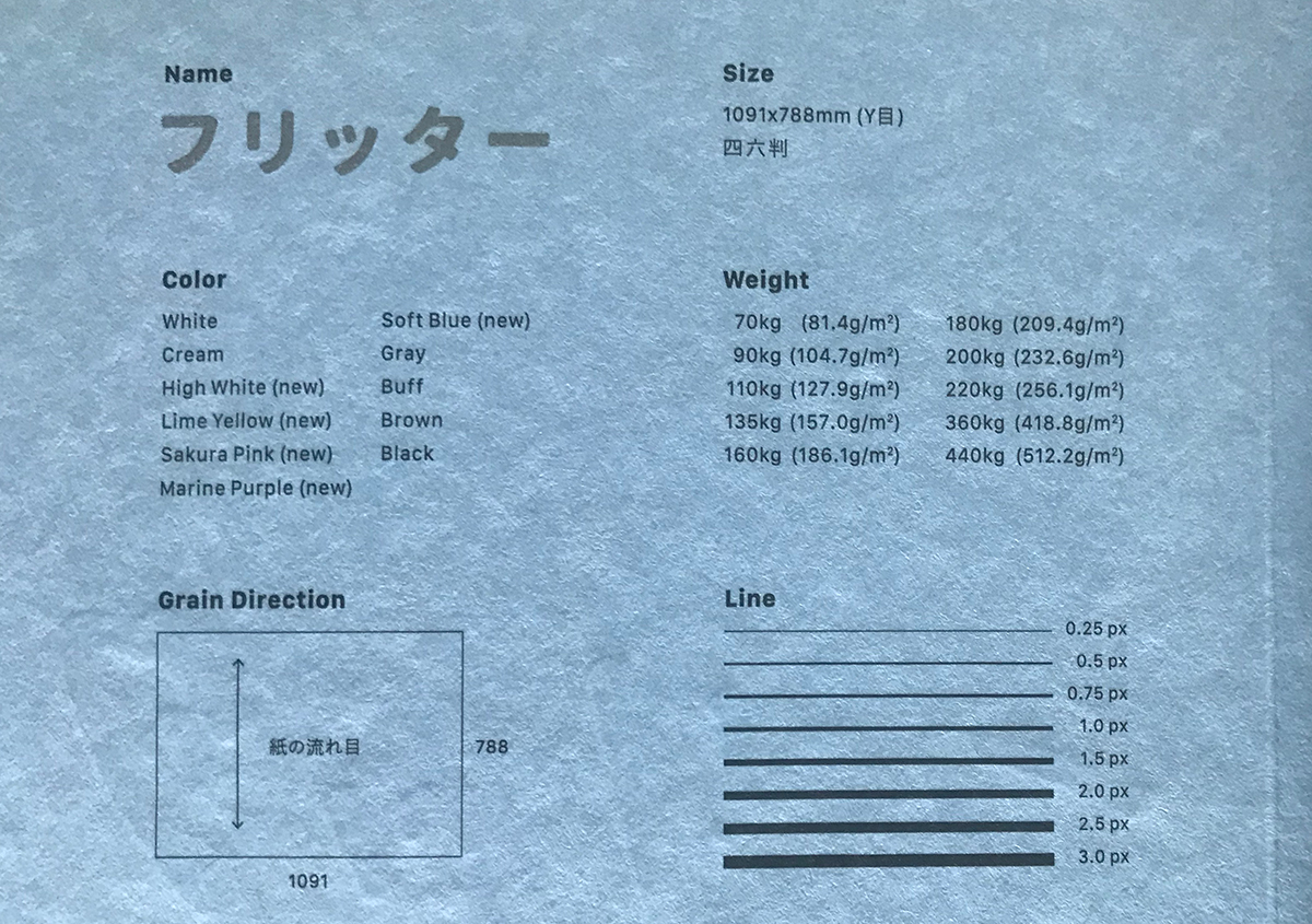 (写真6)フリッッターの見本帳では、文字や細線の印刷再現を確認できる。 | 軽やかで明るい色合いのファンシーペーパー「フリッター」がリニューアル - 生田信一(ファーインク) | 活版印刷研究所