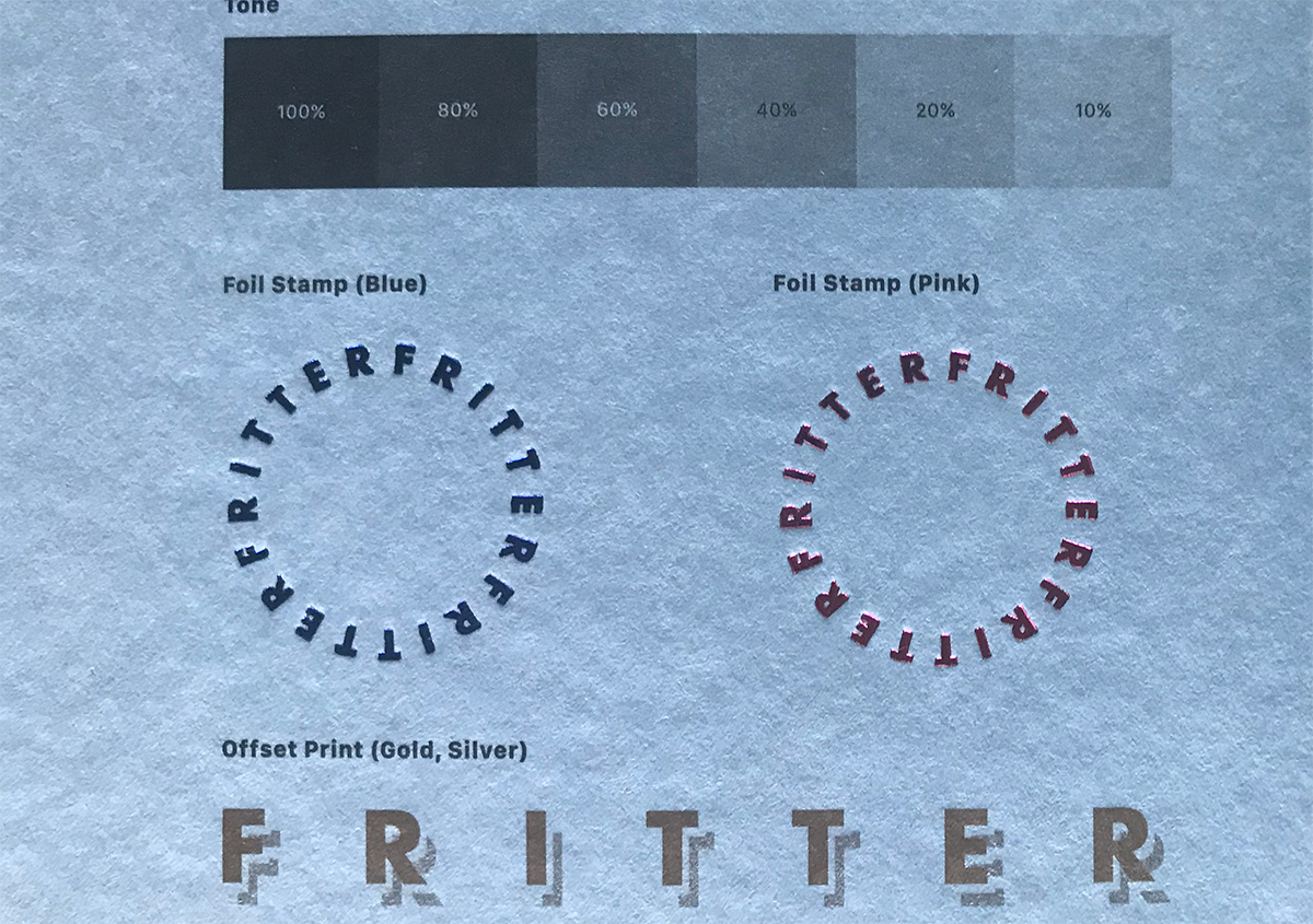 (写真7)ベタや網点、箔押しやゴールド、シルバーのインキの印刷再現も確認できる。 | 軽やかで明るい色合いのファンシーペーパー「フリッター」がリニューアル - 生田信一(ファーインク) | 活版印刷研究所