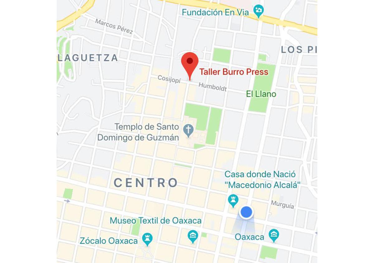 写真10 地図(オアハカ): HUMBOLDT #100 A CENTRO OAXACA MEXICO CP68000 | ミニプリントオアハカ - アミリョウコ | 活版印刷研究所