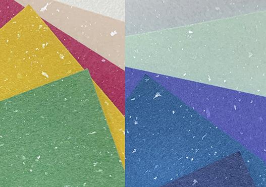 (写真4)紙の正面にキラめく斑点が、「星物語」の名前の由来です。 | 紙に歴史あり 「新・星物語」 - 平和紙業株式会社 | 活版印刷研究所